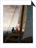 On Board a Sailing Ship, Between 1818 and 1820 Poster by Caspar David Friedrich