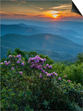 Sunset, Cowee Mountain Landscape, Blue Ridge Parkway, North Carolina Poster by Howie Garber