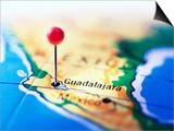Guadalajara Marked on Map Print by Randall Fung