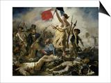 La liberté menant le peuple Affiche par Eugène Delacroix