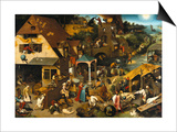 The Netherlandish Proverbs (The Blue Cloak or the Topsy Turvy World), 1559 Prints by Pieter Bruegel the Elder