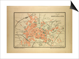 Map of Montpellier, France Art