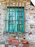 Europe, Italy, Tuscany. Turquoise Window on Brick Building Plakater af Julie Eggers