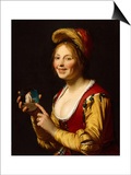 Smiling Girl, a Courtesan, Holding an Obscene Image, 1625 Prints by Gerrit van Honthorst