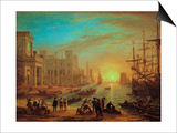 Seaport at Sunset, 1639 Art by Claude Lorrain