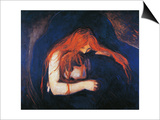 Vampire, 1893-1894 Affiche par Edvard Munch