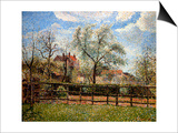 Pear Trees and Flowers at Eragny, Morning, 1886 Posters par Camille Pissarro