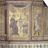 King William Ii Offering Monreale Cathedral to the Virgin, 1180. Mosaic, Monreale, Sicily, Italy Posters