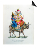 Shiva, One of the Gods of the Hindu Trinity (Trimurt) with His Consort Parvati, C19th Century Prints by A Geringer