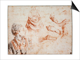 Study, 1716-1718 Plakater af Jean-Antoine Watteau