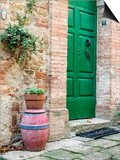 Italy, Tuscany, Monticchiello. Bright Green Door Posters af Julie Eggers