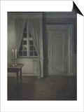 Interior with Two Candles Prints by Vilhelm Hammershoi