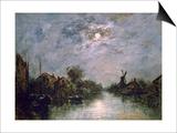 Dutch Channel in the Moonlight, C1840-1891 Prints by Johan Barthold Jongkind