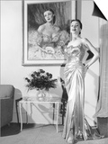 Anne Jeffreys, Relaxing at Home in a $2,700 Gown, 1953 Poster