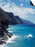 Hawaii, Kauai, Waves from the Pacific Ocean Along the Na Pali Coast Prints by Christopher Talbot Frank
