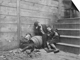 Poor and Homeless Sleeping on Streets Print by Jacob August Riis
