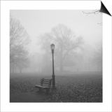 Park Bench, Lamp Post in Fog Posters by Henri Silberman