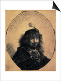 Self-Portrait in a Cap with a Plume and a Sabre, 1634 Prints by  Rembrandt van Rijn