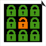 Online Web Security Concept Represented in 8-Bit Pixel-Art Padlock Icons Posters by  wongstock