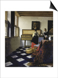 A Lady at the Virginal with a Gentleman (The Music Lesso), Ca 1662 Print by Jan Vermeer