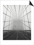 Brooklyn Bridge Cables in Fog Print by Henri Silberman