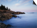 Maine, Acadia National Park, Moonset over the Atlantic Ocean at Sunrise Print by Christopher Talbot Frank