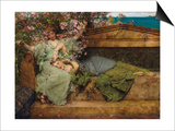 In a Rose Garden Posters by Sir Lawrence Alma-Tadema