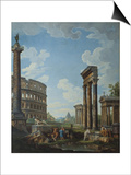 A Capriccio with Figures Among Roman Ruins Including the Arch of Constantine and the Pantheon Prints by Giovanni Paolo Panini