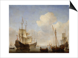 The Dutch Squadron at the West African Coast, 1660s Kunstdrucke von Willem Van De Velde The Younger