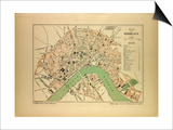 Map of Bordeaux France Prints