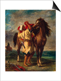 A Moroccan Saddling His Horse, 1855 Poster by Eugène Delacroix