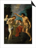 The Baptism of Christ, 1623 Art by Guido Reni