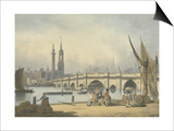London Bridge and the Monument, C.1795 Posters by Francis Nicholson