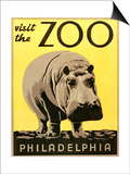 Visit the Zoo Poster with Hippopotamus Art
