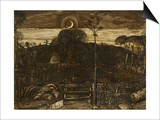 Late Twilight, 1825 (Pen and Dark Brown Ink with Brush in Sepia Mixed with Gum Arabic; Varnished) Prints by Samuel Palmer