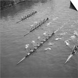 Competition a l'aviron, au pont de Levallois, a Levallois-Perret Print by Emeric Feher