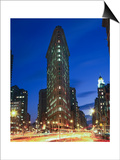 Flat Iron Building at Night 2 - New York City Landmark Street View Art by Henri Silberman