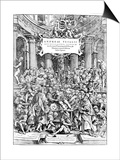 Title Page of Andreas Vesalius 'De Humani Corporis Fabrica, Showing Vesalius Dissecting Body, 1543 Posters by Andreas Vesalius