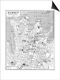 Map of Central Sydney, New South Wales, Australia, C1924 Posters