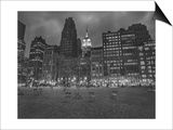 Byrant Park Dusk - Looking South in Bryant Park Manhattan Posters by Henri Silberman