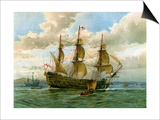 Royal Navy Battle Ship, C1650 Prints by William Frederick Mitchell