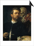 Self-Portrait with Death Playing the Fiddle, 1872 Prints by Arnold Bocklin