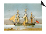 A Royal Navy 42 Gun Frigate, C1780 Prints by William Frederick Mitchell
