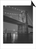Brooklyn Bridge, New York City, Moon Posters by Henri Silberman