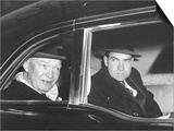 President Eisenhower and Vice President Richard Nixon in a Limousine Print