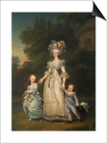 Queen Marie Antoinette of France and Two of Her Children Walking in the Park of Trianon, 1785 Prints by Adolf Ulrik Wertmüller