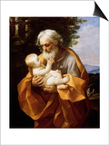Saint Joseph with Infant Christ, 1620S Prints by Guido Reni