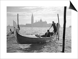 Gondolier in Front of San Giorgio Maggiore in Venice, 1939 Prints by  SZ Photo