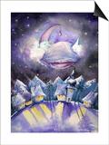 Moon Sleeping on a Cloud.Watercolors. Posters van  DannyWilde