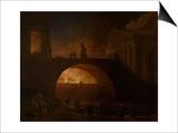 The Burning of Rome Art par Hubert Robert